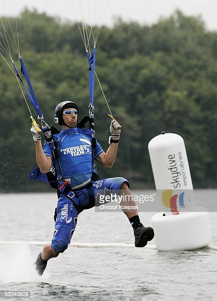 Parachutist lands on the water during the parachuting discipline canopy piloting during the World Games 2005 on July 15, 2005 in Duisburg, Germany.