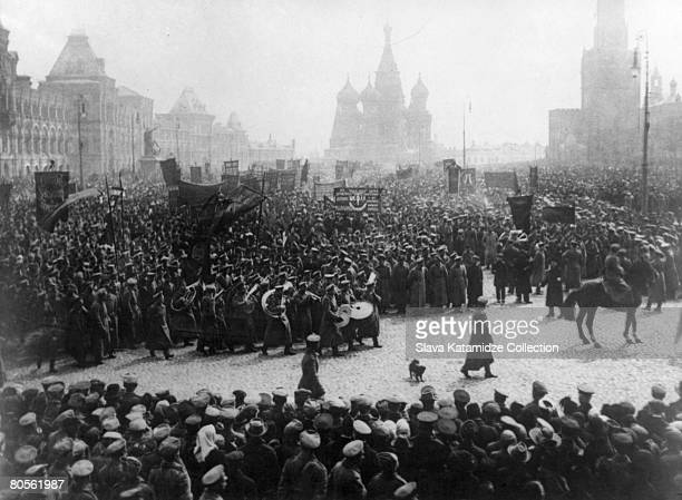 A parade and demonstration in Red Square Moscow to commemorate the First of May 1st May 1917