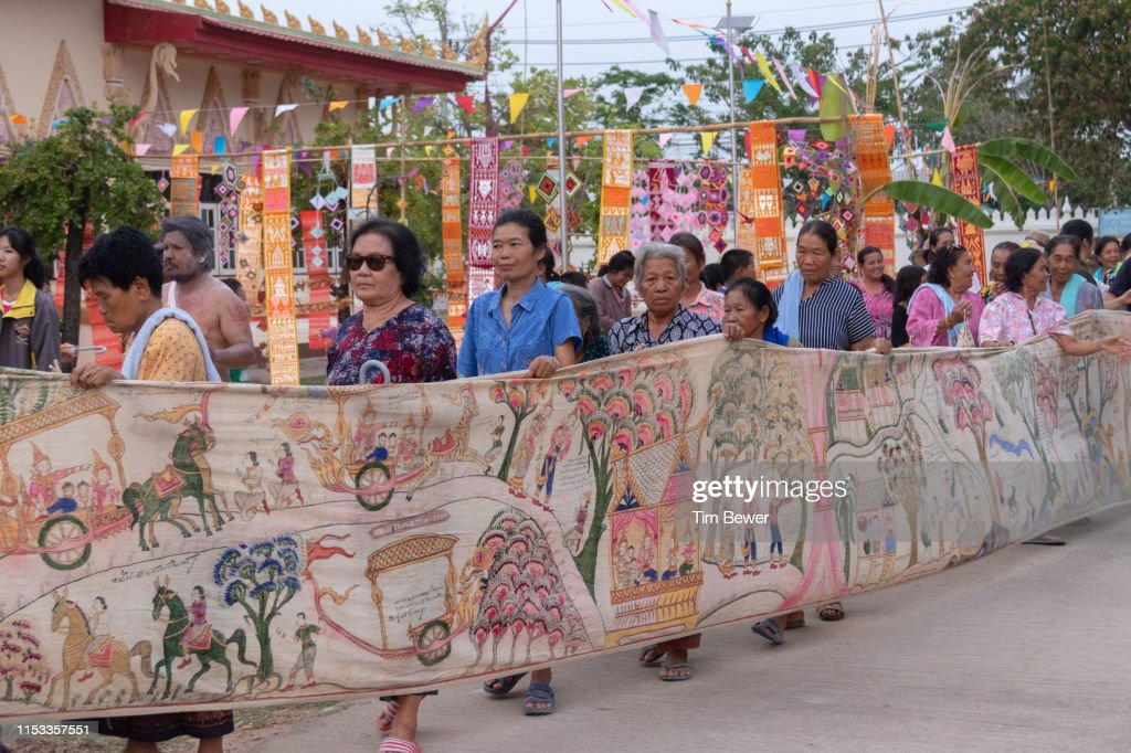 Parade around wihan for Boon Pha Wet festival. : Stock Photo