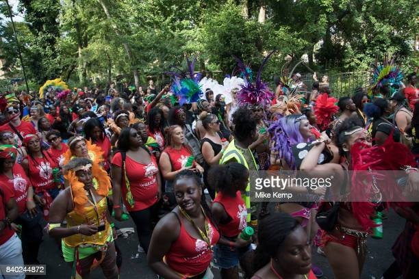 Parade at Notting Hill Carnival on 28th August 2017 in West London United Kingdom A celebration of West Indian / Caribbean culture and Europes...