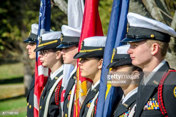 parade color guard - veterans day parade stock photos and pictures