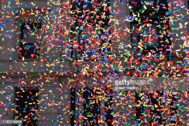 parade confetti - parade stock pictures, royalty-free photos & images