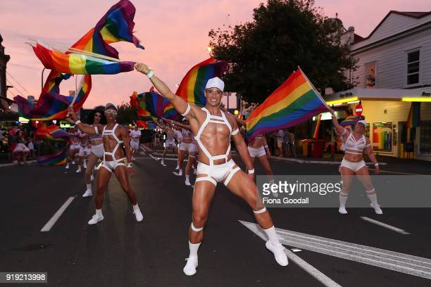 Parade dancers on February 17 2018 in Auckland New Zealand The Auckland Pride Parade is part of the annual Pride Festival promoting awareness of gay...