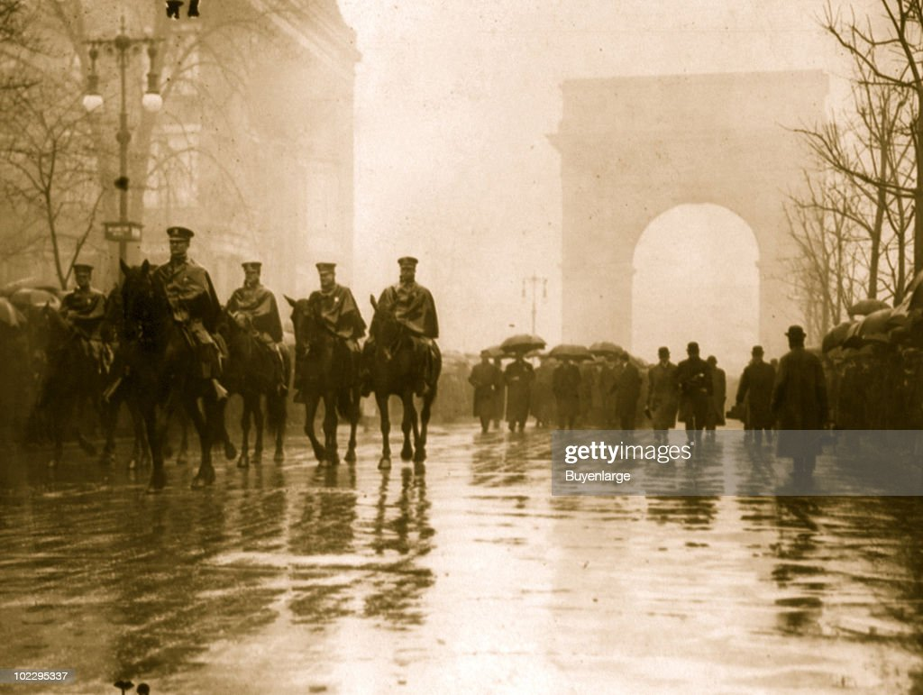 Parade firemen riding horseback lead a trade union procession in honor of the victims of the Triangle Shirtwaist Factory fire, one of the worst industrial disasters in the United States, April 1911.