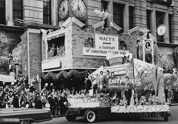 A parade float for the City Center Light Opera production of the musical 'Brigadoon' during the Macy's Day Parade at Thanksgiving in New York City...