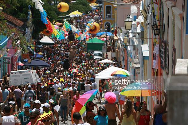 Parade followed by thousands of people during the Carnival on February 11 2013 in Olinda Brazil
