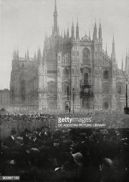 Parade for the 4th anniversary of national victory in World War I in Piazza del Duomo, Milan, Italy, November 4 from L'Illustrazione Italiana, Year...