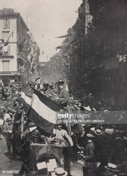 Parade for the commemoration of the third year of war corso Vittorio Emanuele Milan Italy World War I from l'Illustrazione Italiana Year XLV No 21...