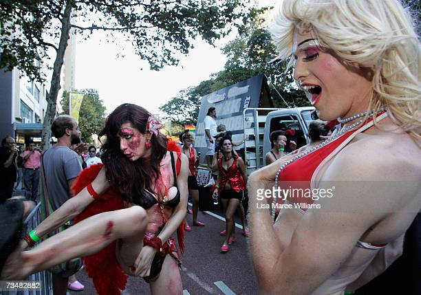 Parade goer attempts to jump a fence during the 2007 Sydney Gay and Lesbian Mardi Gras parade March 3 2007 in Sydney Australia This year's parade saw...