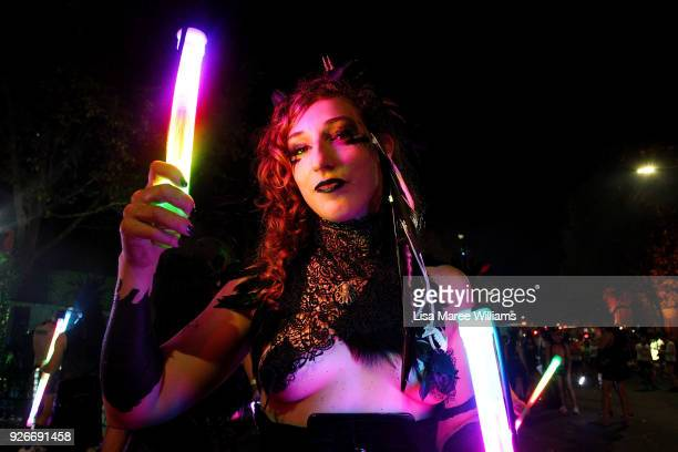 A parade goer celebrates during the 2018 Sydney Gay Lesbian Mardi Gras Parade on March 3 2018 in Sydney Australia The Sydney Mardi Gras parade began...