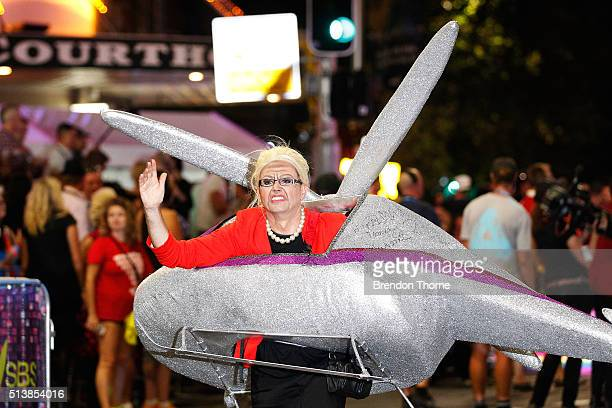 A parade goer dressed as Bronwyn Bishop marches during the 2016 Sydney Gay Lesbian Mardi Gras Parade on March 5 2016 in Sydney Australia The Sydney...