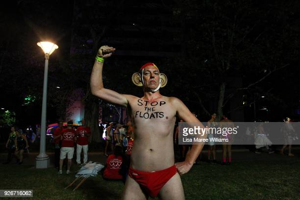 A parade goer dresses as former Australian Prime Minister Tony Abbott during the 2018 Sydney Gay Lesbian Mardi Gras Parade on March 3 2018 in Sydney...