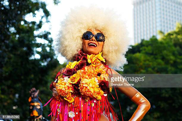 A parade goer poses prior to the start of the 2016 Sydney Gay Lesbian Mardi Gras Parade on March 5 2016 in Sydney Australia The Sydney Mardi Gras...