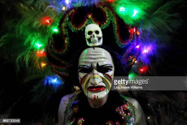 A parade goer representing Latin America takes part in the LUMINOUS Lantern Parade 2018 on June 8 2018 in Brisbane Australia Presented by...