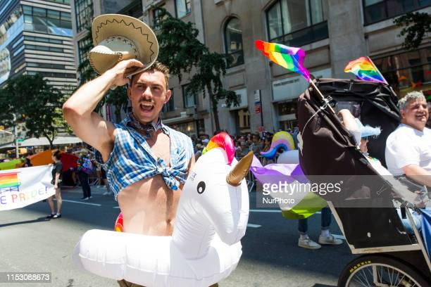Parade goer wears a cowboy costume at the annual Pride Parade on Sunday, June 29, 2019 in New York, NY. This years annual Pride Parade celebrates the...