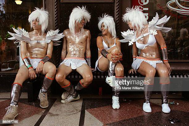 Parade goers assemble for the start of the annual Sydney Gay and Lesbian Mardi Gras Parade on Oxford Street on March 7 2009 in Sydney Australia The...