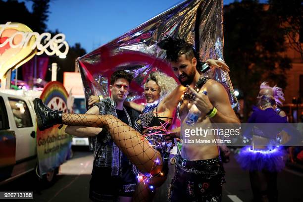 Parade goers celebrate during the 2018 Sydney Gay Lesbian Mardi Gras Parade on March 3 2018 in Sydney Australia The Sydney Mardi Gras parade began in...
