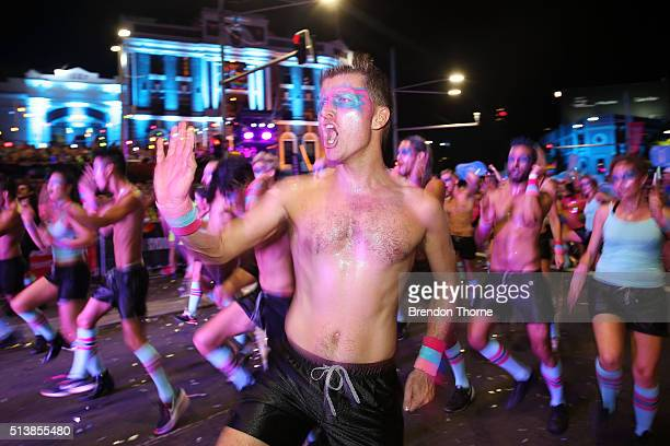 Parade Goers dance during the 2016 Sydney Gay Lesbian Mardi Gras Parade on March 5 2016 in Sydney Australia The Sydney Mardi Gras parade began in...