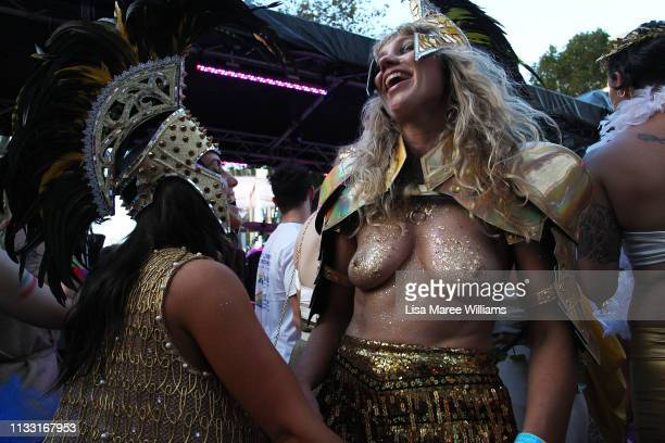 Parade goers dance during the 2019 Sydney Gay Lesbian Mardi Gras Parade on March 02 2019 in Sydney Australia The Sydney Mardi Gras parade began in...
