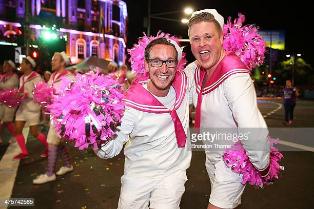 Parade goers march during the 2014 Sydney Gay Lesbian Mardi Gras Parade on March 1 2014 in Sydney Australia The Sydney Mardi Gras parade began in...