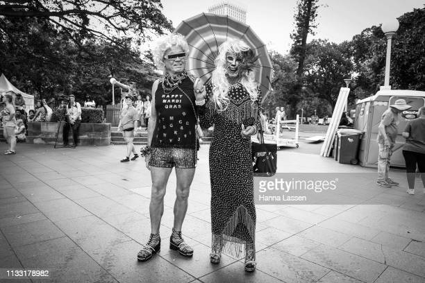 Parade goers pose during the 2019 Sydney Gay Lesbian Mardi Gras Parade on March 02 2019 in Sydney Australia The Sydney Mardi Gras parade began in...
