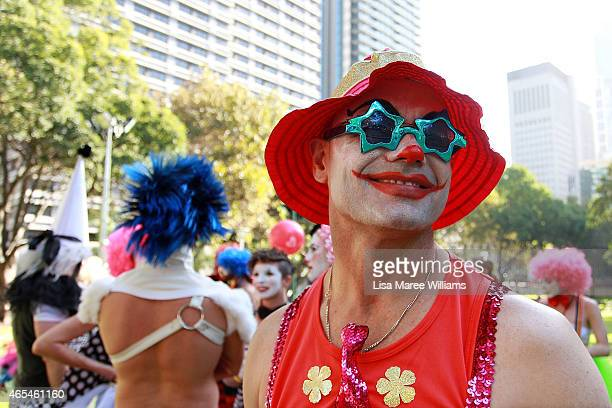 Parade goers prepare in Hyde Park ahead of the 2015 Sydney Gay Lesbian Mardi Gras Parade on March 7 2015 in Sydney Australia The Sydney Mardi Gras...