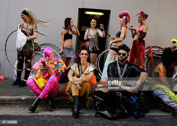 Parade goers prepare prior to the parade during the annual Sydney Gay and Lesbian Mardi Gras Parade on Oxford Street on February 27 2010 in Sydney...