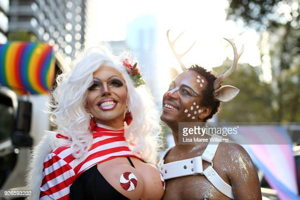 Parade goers prepare to take part in the 2018 Sydney Gay Lesbian Mardi Gras Parade on March 3 2018 in Sydney Australia The Sydney Mardi Gras parade...