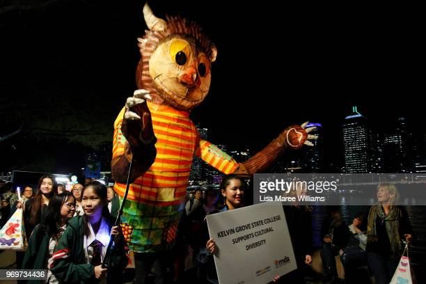 Parade goers take part in the LUMINOUS Lantern Parade 2018 on June 8 2018 in Brisbane Australia Presented by Multicultural Development Australia the...