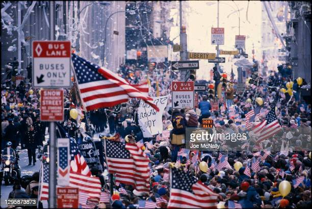 Parade in celebration of the release of 52 Americans who were held captive as hostages in Iran in New York City on January 20, 1980.