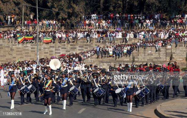 Parade is held to mark the 123rd anniversary of the battle of Adwa in which Ethiopia inflicted a crushing defeat on Italy's colonial army, at Menelik...