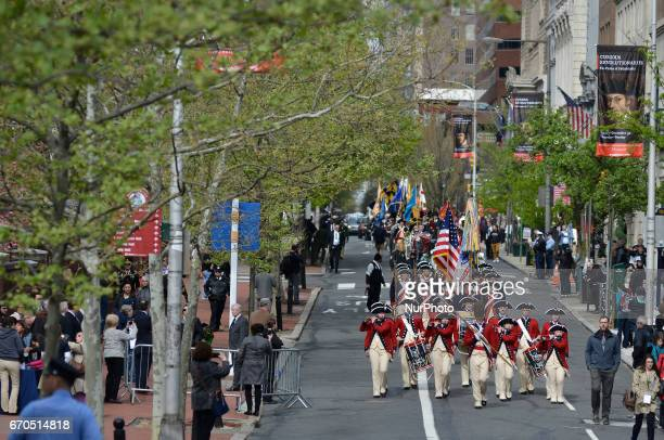 Parade leads officials members of Color Guards and reenactors from Independence Hall towards the official opening and ribbon cutting ceremony of the...