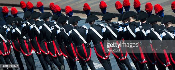 Parade of carabinners in full uniform, back view, national meeting