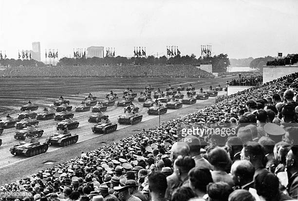 A parade of German army tanks on the Zeppelinwiese Nuremberg Germany circa 1940