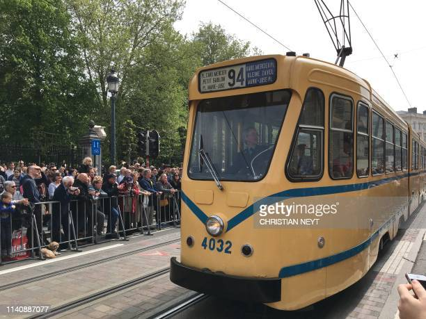 A parade of historical trams to celebrate the 150th anniversary of the tram in Brussels on the Irisfeest Fete de l'Iris Wednesday 01 May 2019 NEYT