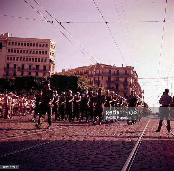 Parade Of July 14Th 1956 In Algiers En Algérie à Alger le 14 juillet 1956 lors du défilé de la fête nationale un régiment de la Légion Etrangère...