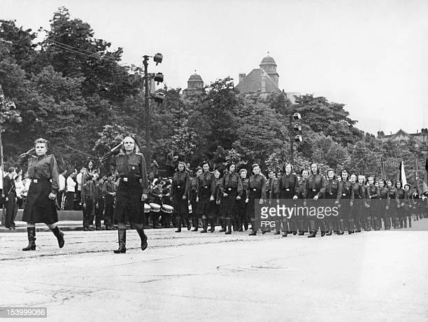 A parade of new female recruits to the East German Volkspolizei in Saxony German Democratic Republic 12th April 1955