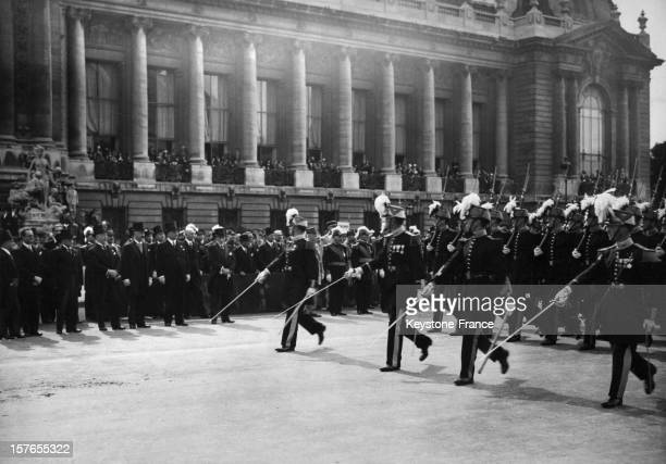 Parade of officer cadets from the French military school of SaintCyr in front of the President and members of his government next to the Petit Palais...