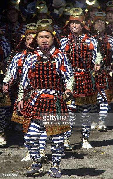 Parade of participants dressed in traditional costume takes part in the Autumn Festival at Toshogu Shrine in Nikko, Tochigi prefecture, some 145 kms...
