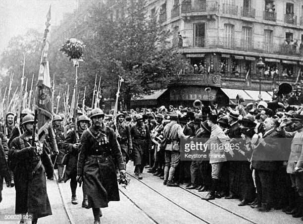 Parade of soldiers for the Victory in Paris France in 1918