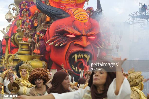 Parade of the Gaviões da Fiel during the second day of the parades of the samba schools of the special Carnival Group of Sao Paulo 2019 in the...