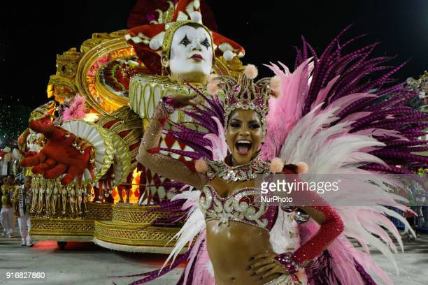 Parade of the samba school during the presentation of the samba schools of group in Rio de Janeiro, Brazil, on 11 February 2018.