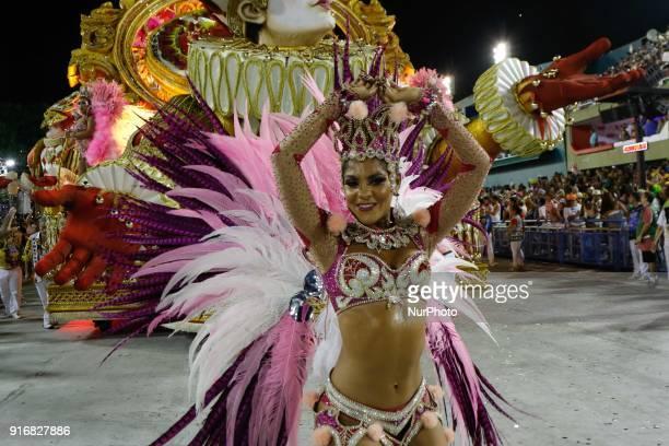 Parade of the samba school during the presentation of the samba schools of group in Rio de Janeiro Brazil on 11 February 2018