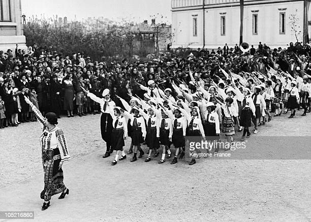 Parade Of The Strajerns A Fascist Paramilitary Organization Organizing Romanian Youths During Their Annual Celebration In Bucharest On April 30 1936