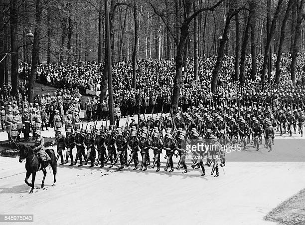 Parade of the Wehrmacht in BerlinTiergarten before Adolf Hitler on his 47th birthday parade of an infantry column behind Hitler from the l Werner von...