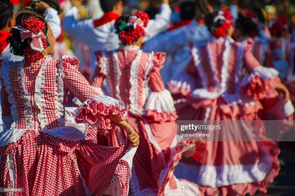 parade of traditional carnival dancers in barranquilla : Stock Photo
