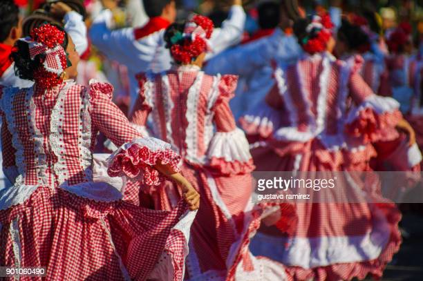 parade of traditional carnival dancers in barranquilla - barranquilla stock photos and pictures