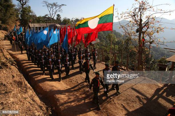 A parade of unarmed soldiers to respond to a nationwide ceasefire agreement in Myanmar