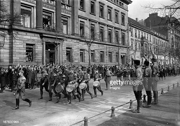 A parade on the occasion of the fly of the swastika flag on the interior ministry in the street Unter den Linden Hermann Göring March 13th 1933...