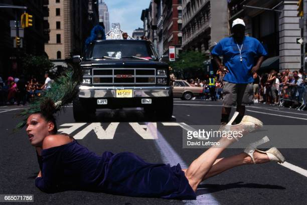 Parade participant lying on the street during the Gay Pride Parade in New York